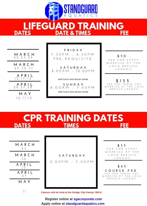 CPR/LifeGuard Training Dates