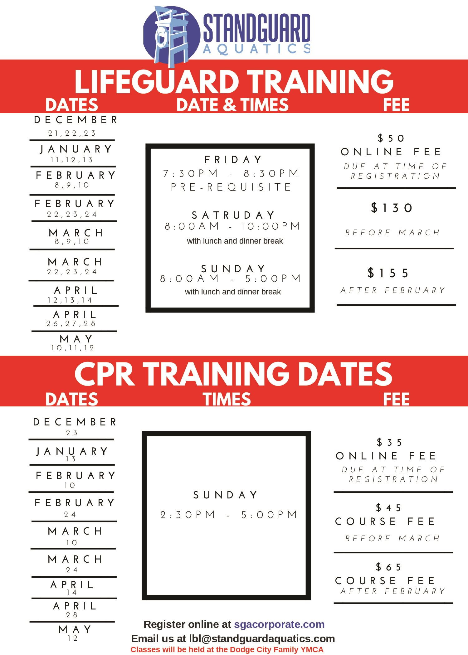 2018-2019 lifeguard training schedule